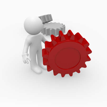 Man with a red gear wheel, 3D image photo