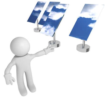 Man with solar panels, 3d image photo