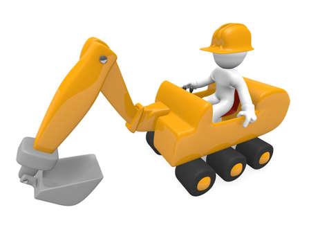 Arbeiter mit einem Bagger, 3D-Bild