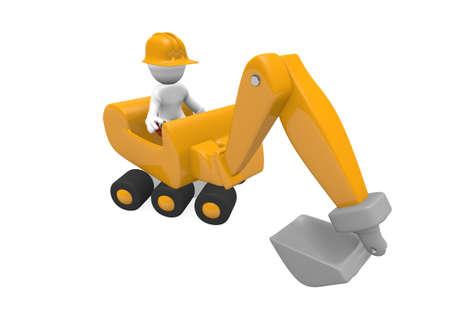 dredger: Worker with a digger, 3D image