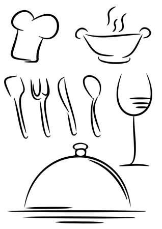 fork glasses: Icon Gourmet su bianco, vettore, illustrazione Vettoriali