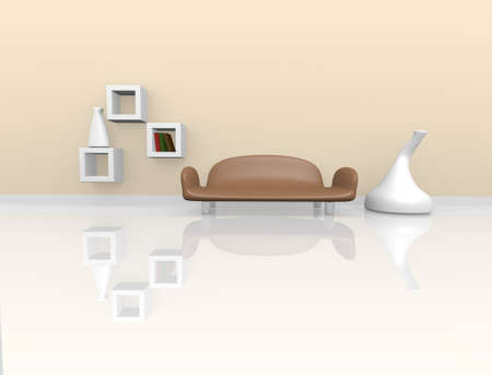Modern Interior design in beige and brown, 3d image photo
