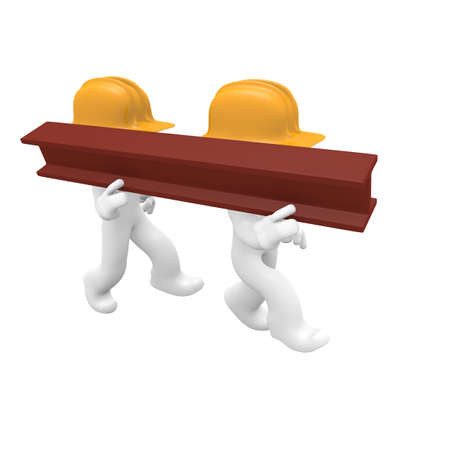 steel worker: Two worker with a steel beam, 3d image