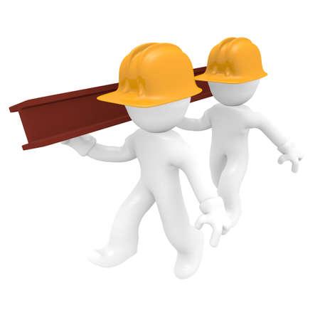 Twee werknemer met een stalen balk, 3d beeld
