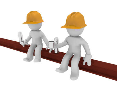 Due lavoratori su una trave d'acciaio, in costruzione, immagine 3d