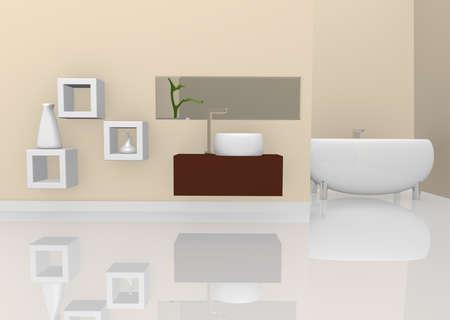 renderings: Modern bath room, 3d image Stock Photo