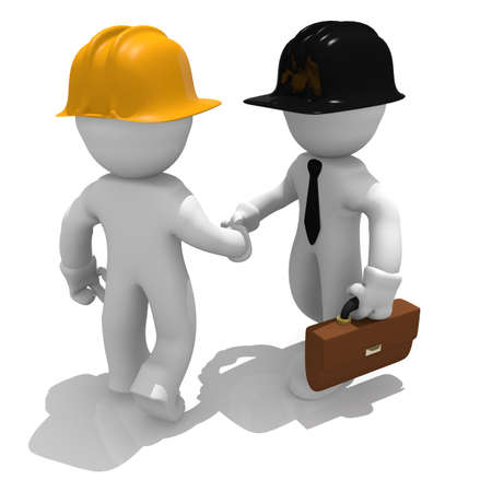 construction crew: Shake hands, 3d image