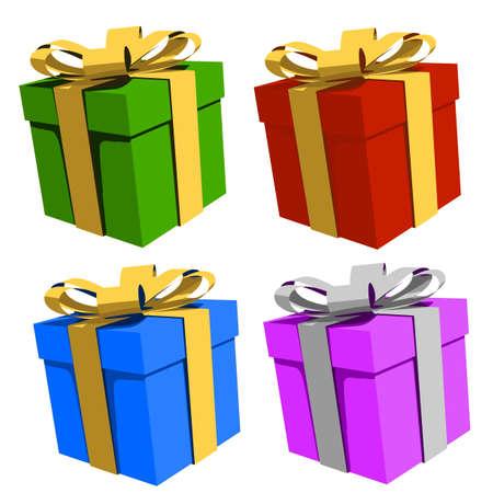 Bunte Geschenkboxen, Illustration