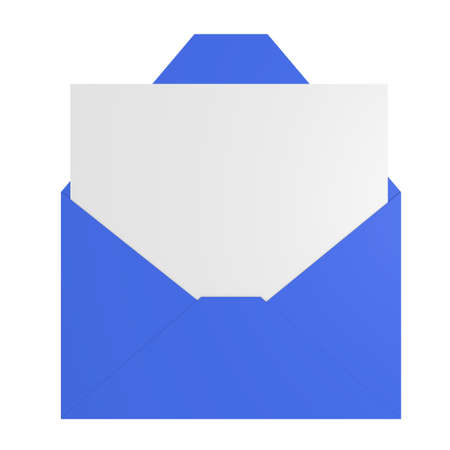 Blue envelope with a blank letter, 3d image photo