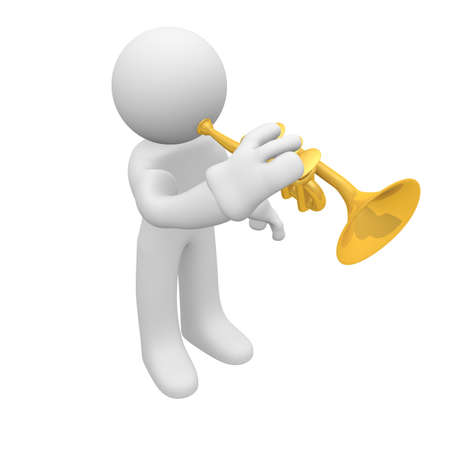 Trumpet player, 3d image photo