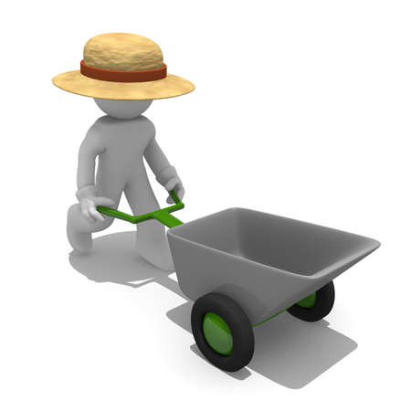 pushcart: Gardener with a wheel barrow, 3d image