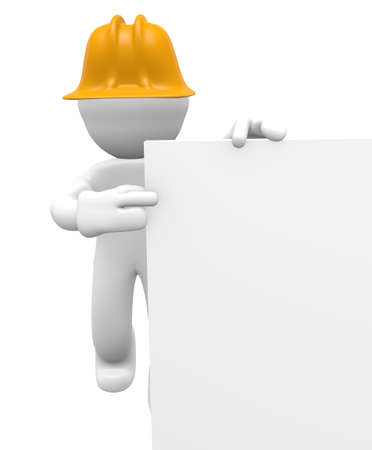 Construction worker with a blank board, 3d image photo