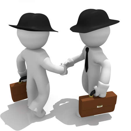 Businessmen shaking hands, 3d image photo