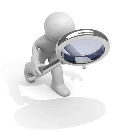 three persons: 3d man with a magnifying glass Stock Photo