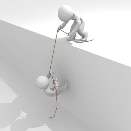 Helfende Hand, Teamwork-Konzept, 3D-Bild