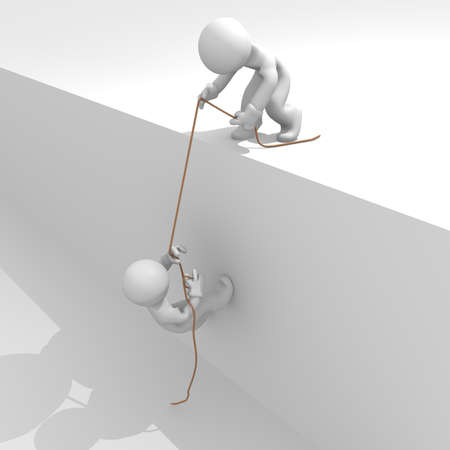 obstacle: Helping hand, teamwork concept, 3d image Stock Photo