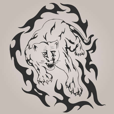 Tiger with flames Vector