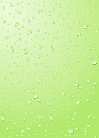 Drops of water on glass in green photo