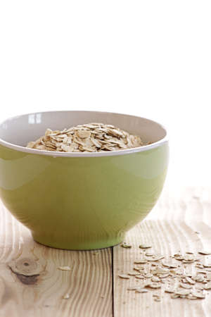 Oatmeal in a green bowl photo