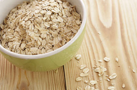 royalty free: Oatmeal in a green bowl