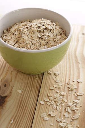 Oatmeal in a green bowl photo