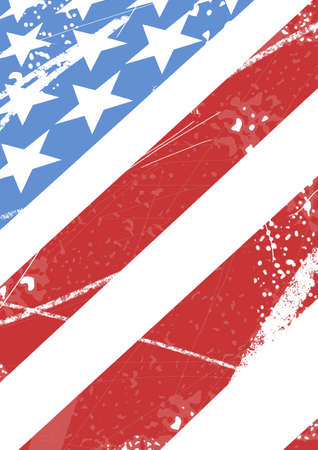 American flag with scratches Illustration