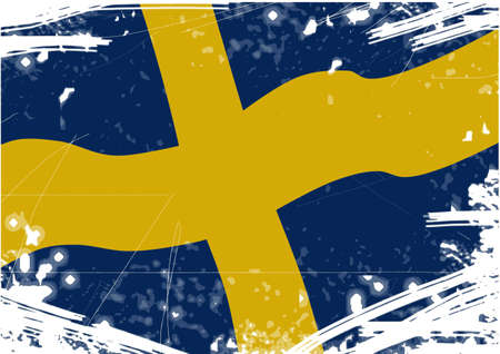 Flag of Sweden with scratches Vector