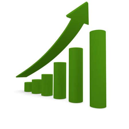 Las barras verdes con una flecha alza, imagen 3d