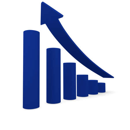 career up: Upswing arrow with blue bars, 3d image