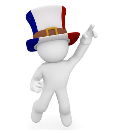 french flag: French fan jumping high, 3d image