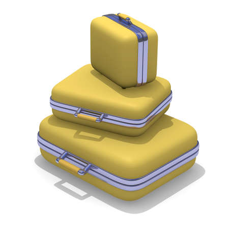 coffer: Yellow suitcases stacked on white, 3d image Stock Photo