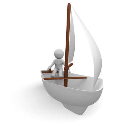 Marinero con su barco de vela, la imagen 3D