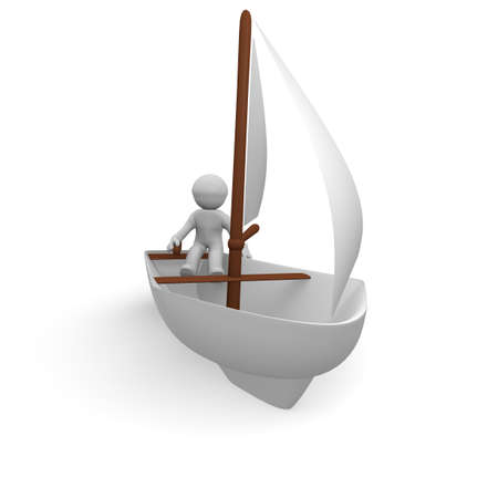 Sailor with his sailing boat, 3d image Stock Photo