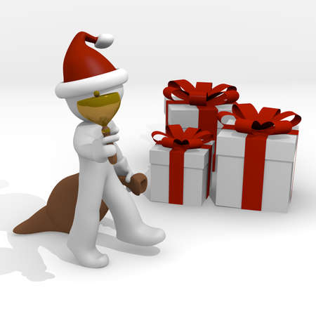 Santa Claus with gift boxes photo