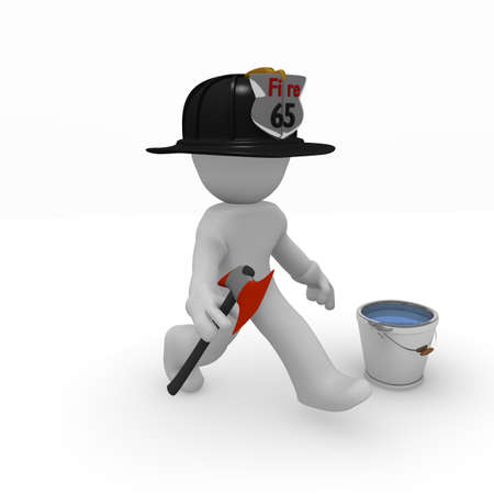 Fire fighter with an axe
