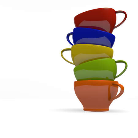stacked: Colorful stacked coffee cups