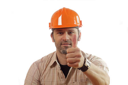 Construction worker with thumb up photo