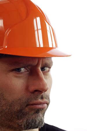 sceptical: Sceptical construction wokrer Stock Photo