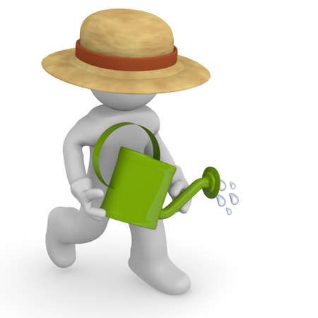 watering pot: Gardener with a watering can