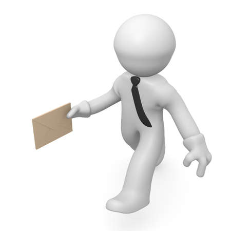 deliver: 3d man running with an envelope in his hand Stock Photo
