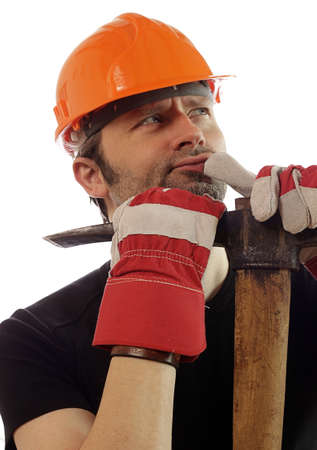 Construction worker with a pickaxe photo