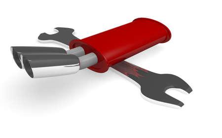 muffler: Wrench and muffler on white Stock Photo