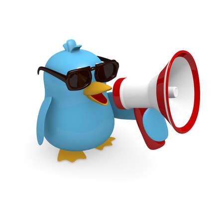 Uccello blu con un megafono Archivio Fotografico