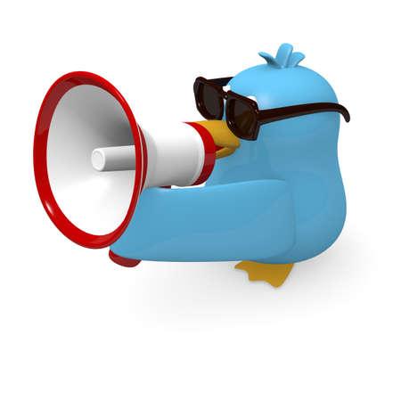 blue bird: Blue bird with a megaphone