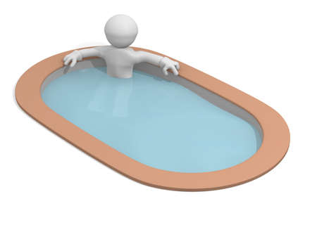 3d man in a luxury pool photo