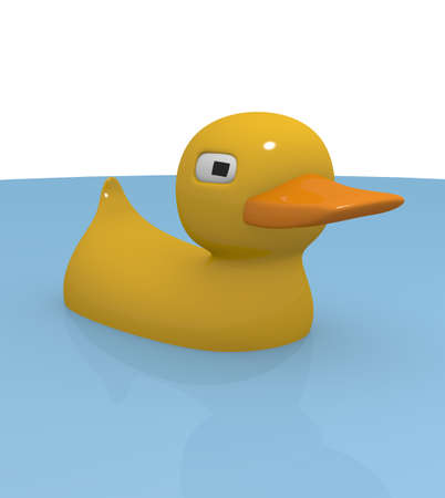 Rubber duck in blue water Stock Photo - 14661981