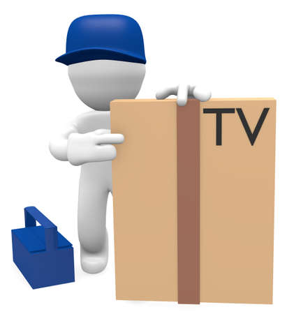 Television technician deliver a new television photo