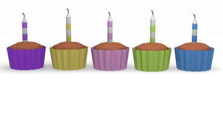 Birthday cupcakes, 3d image photo