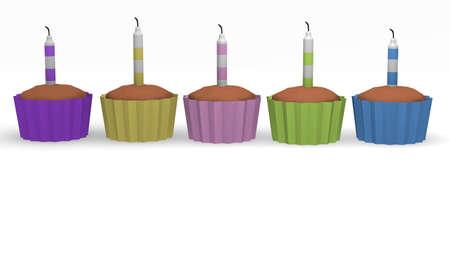Birthday cupcakes, 3d image Stock Photo - 14893517