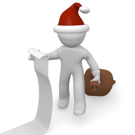 wish list: Santa Claus with a long wish list